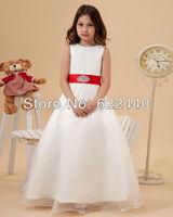 Lovely Round Neckline  Organza Red Sash Floor-Length Flower Girl Dresses Free Shipping