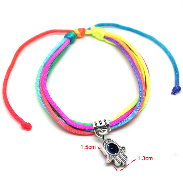 Minimum Order $10 New Arrival Items Simple Fluorescent Hamsa Hand Bracelet Evil Eye Jewelry Wholesale(China (Mainland))