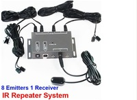 Free shipping Infrared Remote Extender 8 Emitter 1 Receiver 1 adapter Hidden IR Repeater System Kit