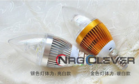 NRG 10pcs/lots White/Warm White LED Lamp 85V-265V 3W E14 LED Light Bulb Candle Lamp Free Shipping