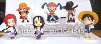 GIFT ONE PIECE OCEAN BLUE BOBBLE HEAD 6 PCS FIGURE SET LUFFY ACE SHANKS BUGGY