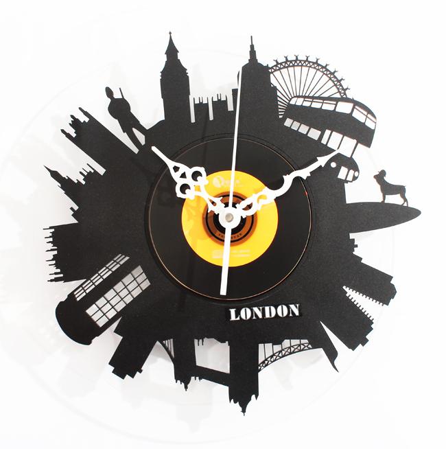 Wall Clock Art Design : Free shipping designer vintage vinyl record clock black