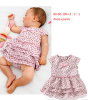 Retail 1pcs free shipping top quality  fashion girl's 2PC suit baby girl clothes set dress + short in stock 80-90-100
