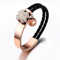 NSB389 High-quality plated 18k gold bracelet wrap real Leather charm titanium Stainless Steel Clasp Bracelet