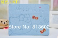 Hello Kitty Smart Cover Leather Case For ipad 2/3/4, Cute Blue with Stand Leather Kitty,Free DHL