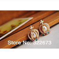 Big crown pearl,  , crystal,  earrings