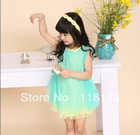 Wholesale -hot sell the girls candy colored fins Princess veil dress princess vest dress Korean style
