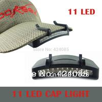 NEW 11 LED Fishing Clip Hat Cap Light Lamp Headlamp Camping Hunting Flashlight