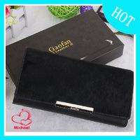 Black horse hair purse solid color genuine leather wallet fashion medium-long women's horsehair purse
