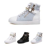2013 New Rivet Waterproof Denim Lace Up Women Sneakers Fashion Stud Women Skateboarding Canvas Shoes Platform Sneakers for Women