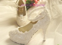 2013 New Handmade White lace pearl wedding shoes bridal shoes women's married high-heeled shoes single shoes free shipping