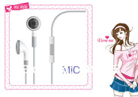 100% brand high quality+New Earphone Headphone Headset With Mic for Apple iPhone 3G 3GS 4 4G ipod touch + free shipping