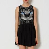 Hot Sale Women Dress Blue Eye Cat Printed Rounder Collar Sleeveless Elastic Waist Short Style Women A-Line Mini Dress  D040