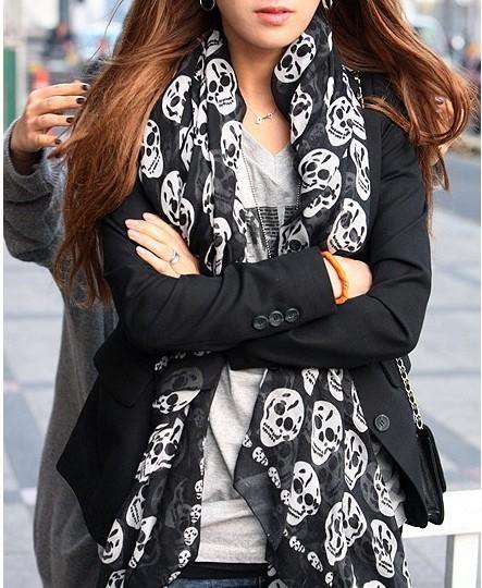 1PC/LOT Korean New stylish women Gauze Skull scarves print gardens shivering scarves autumn Vintage BOHO exotic scarves pashmina(China (Mainland))