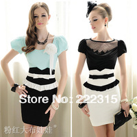 Free Shipping Summer black-and-white xiangpin bow ruffle tight-fitting high waist skirt