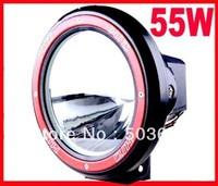 Free Shipping 7'' 55W 12V/9~16V Offroad Drive Light Slim Ballast Spotlight Free Cover Hid Work Light