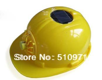 Solar Safety Helmet Hard Yellow Hat Cooling Cool Fan