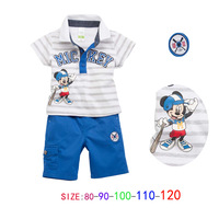 5 sets/ lot boy summer sets baby clothing set casual suit mickey polo t shirt + blue shorts kids wear striped tracksuits sets