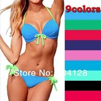 Free shipping high quality sexy swimwear underwire bra push up bikini shoulder strap victoria style swimwear women 9 colors #05