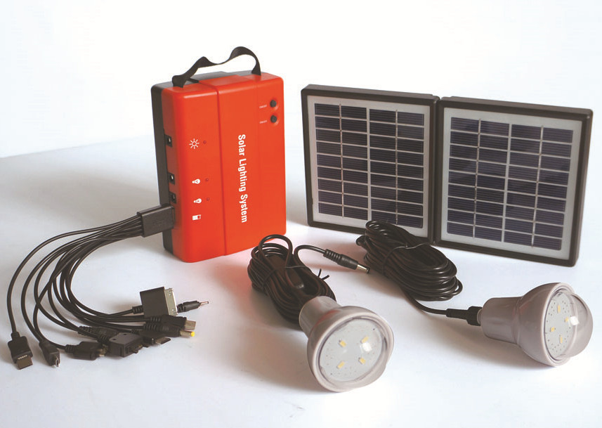 4.5Ah Lead-acid battery Solar LED Lighting system, mini solar system for home use with 10 mobile chargers, free shipping(China (Mainland))
