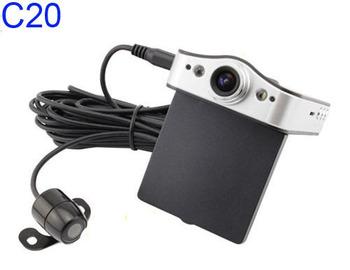 Dual/double lens HD car DVR 720P lens DVR X2 Dual camera car video recorder  car camcorder DVR Free Shipping