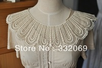 C243 diy clothes accessories beige 100% water-soluble cotton clothes false collar lace round embroidery free shipping