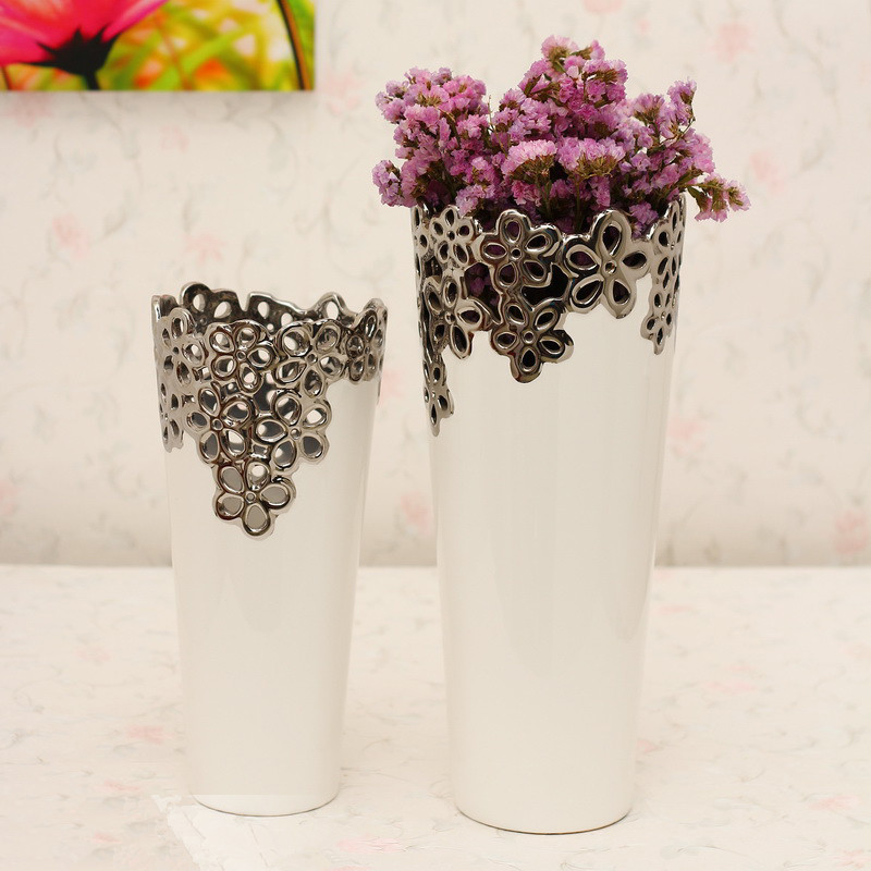 Home modern fashion vase flower brief ceramic white bamboo silver plated cutout vase(China (Mainland))