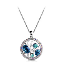 Free shipping  Hot sales Fashion jewelry Hollow out round crystal necklace pendant 4381-80