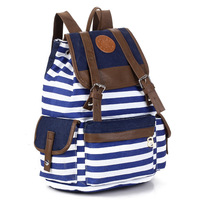 new 2013 Color block stripe decoration multi-colored backpack fashion preppy style vintage backpack canvas casual backpack women