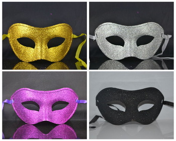 5pcs/lot Free shipping single harf  face Mens halloween mask masquerade mask party masks venetian mask-black powder