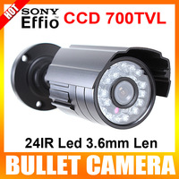 "1/3"" Sony Super HAD CCD II  700TVL 24pcs Leds 3.6mm IR Waterproof CCTV Bullet Security Camera Color Black"