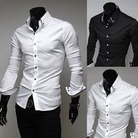 2014 fashion Mens Slim fit stylish long Sleeve Shirts Mens dress shirts 2colors ,size: M-3XL 5006