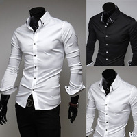 Mens Slim fit Unique neckline stylish Dress long Sleeve Shirts Mens dress shirts 2colors ,size: M-3XL 5006