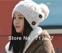 FREE SHIPPING 2013 new women winter hat Button twisted knitted hat female knitting wool warm hat Fashion knitting wool cap