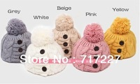 2pc/lot FREE SHIPPING 2013 new women winter hat Button twisted knitted hat female knitting wool warm hat Fashion cap
