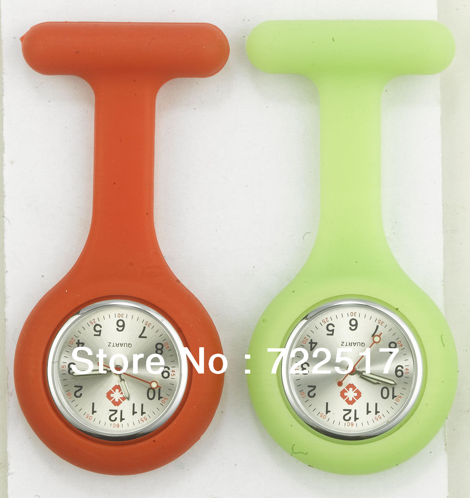 free shipping hot sale fashion silicone nurse brooch watch jelly quartz watch professional useful medical doctor nurse pocket(China (Mainland))