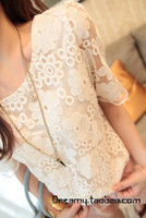 High quality vintage ladies elegant fresh crotch lace full short-sleeve shirt