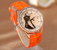 7 Colors New Items Black Cat Style Vintage Leather Quartz Watch Women Fashion NW008 Free Shipping