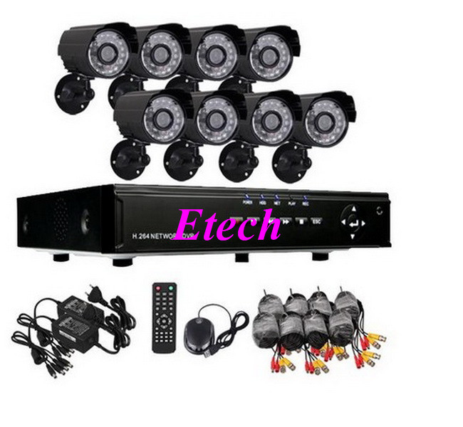 Home Security 8CH H.264 Surveillance DVR 8PCS Day Night Weatherproof Security Camera CCTV System H027(China (Mainland))