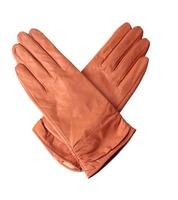 Ladies Genuine Sheep Leather Fashion Gloves Hot Sale Orange And Black Winter Warm Glove For Women