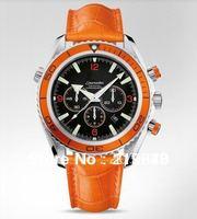 Free Shipping Popular automatic mechanical man orange dial orange strap pin luxury steel watch