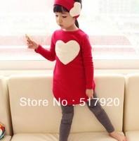 new models Korean Autumn long-sleeved T-shirt + leggings girls infant set child suit big love red