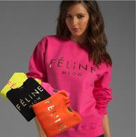 2014 fashion feline print women's jumpersuit sweatshirt  4 color 4 size