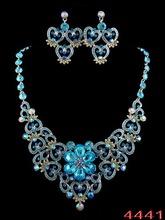 New Arrival Elegant Wedding Jewelry Set 18K White Gold Plated Charming Blue Rhinestone Necklace Prom Jewelry Free Shipping(China (Mainland))