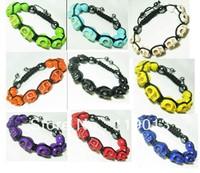 Mix Colors 10pcs Shamballa Bracelet Colorful Skull Turquoise Beads Bracelet Free Shipping [C66 M*10]