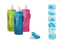 Free Shipping! Portable folding sports water bottle/foldable water bottle 480ml(16oz)(6 colors) 2pcs/lot