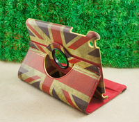 New Arrival! Free shipping 360 Degree UK Britain Flag PU Leather case cover for iPad 2 3 4 Retro Stand Magnetic