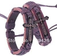 Free shipping Fashion Cross Genuine PUNK leather bracelets jewellery Gift 12pcs/lot B6852