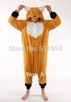 High Quality Cute Adult Children Polar Fleece Orange Fox Winter Animal Pyjamas and One Piece Pajamas Onesie Free Shipping