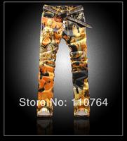 2014 Men's Colored Jeans / Pattern Pants Straight Slim Cool Jeans Paint for Men Slim Cut Mens New Fashion Pants